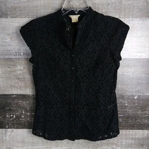 MICHAEL Michael Kors Black Lace Button Down Blouse